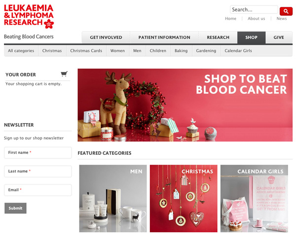 Leukaemia & Lymphoma Research online charity shop front page