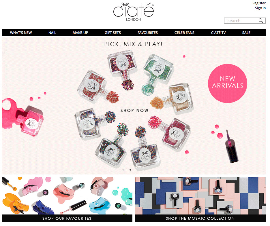 Ciate London Hompage
